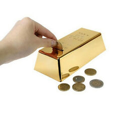 Gold Bar Style Money Box Kids Piggy Bank Saving Coins Moneybox #DF