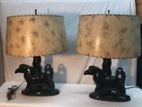 Vtg PAIR Mid-Century Black Beauty Horse Equestrian Table Lamps Fiberglass Shades