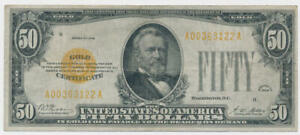 1928 Small Size $50 Dollar Gold Certificate