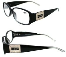 8391691f9f1b Men s Women s Medium Square Louis Paris Reading Eye Glasses Black Clear +  1.75