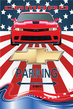Parking Sign - Chevy Red Camaro 2013 American Flag Look