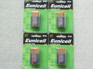 4 x Eunicell Heavy Duty 9V battery 6F22 carbon-zinc  smoke alarm batteries