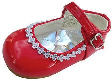 Girls Party Shoes Wedding Christening Bridesmaids Diamante Studs 1,2,3,4,5,6,7,8