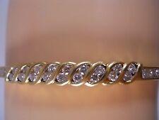 HEAVY DESIGNER 18K SOLID YELLOW GOLD 1.06CT DIAMOND BANGLE TENNIS BRACELET 6 3/4