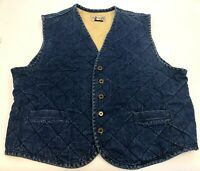Vintage Mens Ducks Unlimited Quilted Cotton Denim Duck Hunting Jean Vest Size L