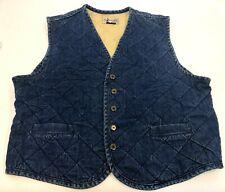 Vintage Mens Ducks Unlimited Quilted Cotton Denim Duck Hunting Jean Vest Size L