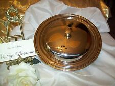 Stainless Steel Cloche Bowl & Lid Gold Rose Inlay Design MGM Inox 18/10 Italy