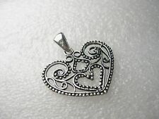 "Pendant/Slide 1.25"" wide, 1"" long Vintage Sterling Silver Cut-Out Heart"