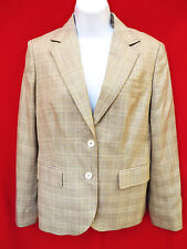 BROOKS BROTHERS Womens Tan Plaid Wool Silk Suit Blazer 6