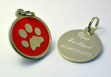 Round Metal Red Paw Dog Pet Id Tags Disc dog Tag or Cat Tag Engraved Free