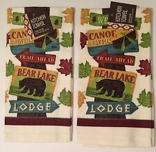 Ritz Woodland Bear Lake Tree Signs kitchen dish towels Set of 2