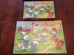 """Vintage Milton Bradley SMURF 100 Piece Puzzle 16""""x11"""" 4190-12  Complete!"""