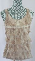 Chicos Lace Sleeveless Shirt Top Blouse Ruffled Tiered Tank Top Womens Size 0