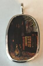 China Jewelry, Pendant. Sterling Scenes from Van Gogh's cafe terrace at night