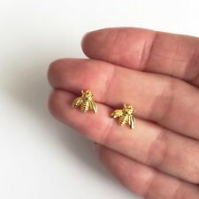 Cute Mini Bumble Bee Gold Stud Earrings - Great Jewellery Earring Boxed Gift!