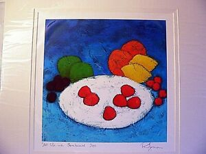 Signed Limited Edit. Phil Johns Numbered Mounted Print  Still Life Strawberries