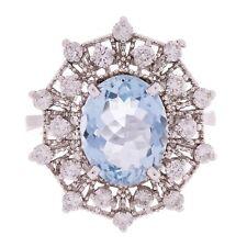 14k White Gold 0.78ctw Aquamarine & Diamond Snowflake Trellis Milgrain Ring SZ 7