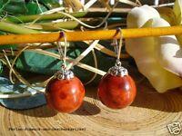 Ohrringe Ohrhänger aus Schaumkorallen 18mm Rot, Brisur 925er Silber