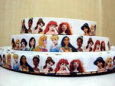 "1 m x 3/8"" Princess Ariel Cinderella Snow White Mottled WHITE Grosgrain Ribbon"