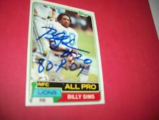 BILLY SIMS SIGNED TOPPS CARD #100