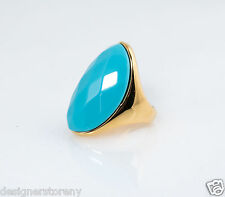 Kenneth Jay Lane Faceted Oval Turquoise Stone Ring