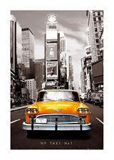 Quadro su pannello in legno MDF New York Taxi Misura 60x90 CM