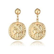 Egyptian Coin Queen Head Charm Dangle Earrings Women Gold Tone Jewelry