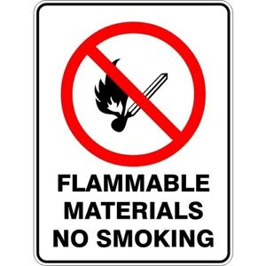 FLAMMABLE MATERIALS NO SMOKING - SELF ADHESIVE STICKER / DECAL / SIGN | HEALTH &