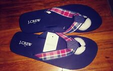 J CREW Flip Flops Sandals Size 9M White, Red and Navy Blue pattern