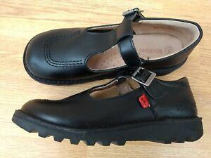 Girls Kickers T Bar shoes size 34 / UK 2 black leather. Unworn