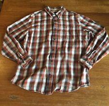 St John's Bay Men's Sz L Button Front Long Sleeve Flannel Plaid Brown Shirt
