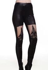 Sexy Pour Femmes À Lacet Faux Cuir Gothique Pantalons Leggings
