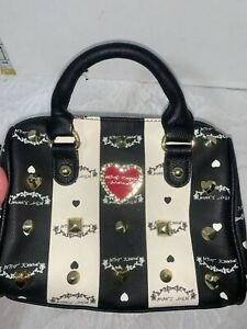 "Betsey Johnson studded new york small handbag black white 7""x9"""