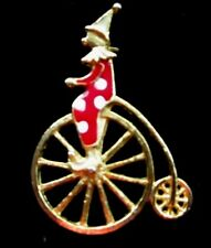 """CLOWN ON UNICYCLE BROOCH PIN RED & WHITE ENAMEL GOLDTONE 3"""" H EXCELLENT PREOWN"""