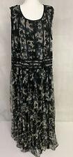 Romans New Sleevelesss Dress 28W Sheer Long Black Multi Print 454