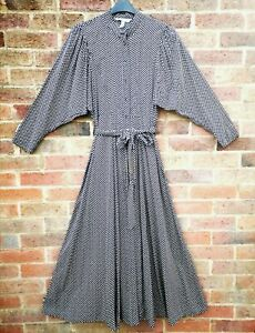 H&M Conscious Black Lyocell Polka-dot Spotted Wide Sleeve Maxi Dress size S 8 10