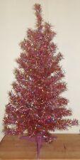 "Vintage Pink Tinsel Christmas Tree Table Top  24"" Shiny Aluminum Tree"