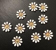10 White & Gold Flower Flatback Button Craft Wedding Hair Embellishments