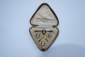ANTIQUE EDWARDIAN MEN'S  ROSE GOLD FILLED CAMEO DRESS SET - C1910'S FITTED CASE