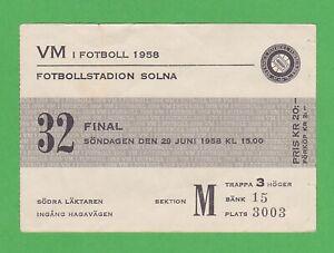 1958 FIFA World Cup ticket #32 Finals Brazil vs Sweden, Pelé WC goals #5-6