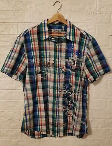 Mens XL Desigual Shirt Regular Plaid Applique Embroidery Spell Out Colorful