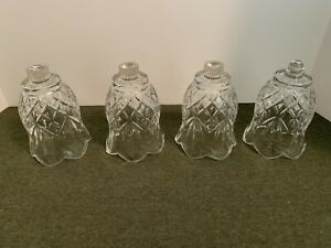 Homco Home Interior 4 CLEAR Cut Design Glass Votive CUP Peg Candle Holders