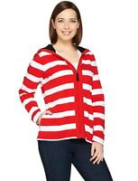 Susan Graver Womens French Terry Zip Front Jacket Medium Red/White A286733