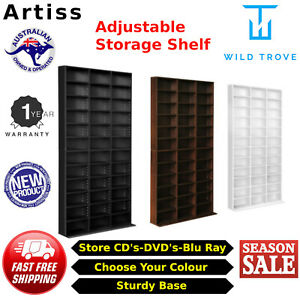 Adjustable Shelves CD DVD Bluray Media Book Storage Cupboard White Black Brown