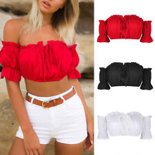ISASSY AU Women's Off Shoulder Frill Bralet Bandeau Boobtube Crop Tops Summer
