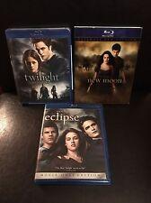 Twilight Blu Ray 3 Movie Set Twilight, New Moon (Ultimate Fan Edition) & Eclipse