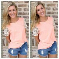 Women Girls Summer T-shirt Short Sleeve Lace Base Shirt Student Fashion Tops Q