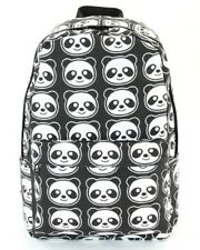 The Black and White Smiley Panda Canvas Backpack Satchel Bag