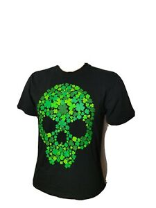 Skull St Patty's Day St. Patrick's Day 4 Four Leaf Clover Youth XL Shirt Black