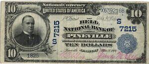 1902 Pineville, Kentucky 10 Dollar National Note 7215 Nice Condition (Rare Town)